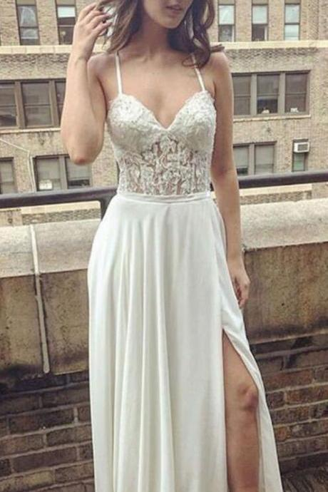 Wedding Dress,Wedding Dresses,Spaghetti Straps Wedding Dresses,High Splits Wedding Dresses,Beach Wedding Dresses,Prom Dresses,Formal Dresses