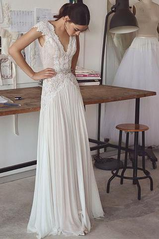 Wedding Dress,Wedding Dresses,Lace Wedding Dresses,Beach Wedding Dresses,Cap Sleeve Wedding Dresses,V-Neck Wedding Dresses