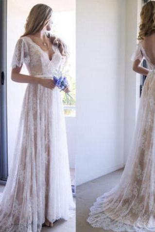 Wedding Dress,Wedding Dresses,Lace Wedding Dresses,Beach Wedding Dresses,Short Sleeve Wedding Dresses,V-Neck Wedding Dresses,Bohemian Summer Wedding Dresses
