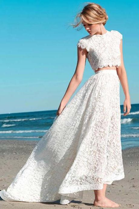 Custom Made White Lace Two-Piece High Low Wedding Dress with Scalloped Detailing