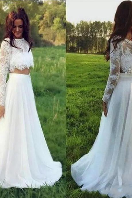 Custom Made White Long Sleeve Lace Two-Piece A-Line Wedding Dress
