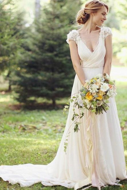 Wedding Dress,Wedding Dresses,Summer Wedding Dresses,Beach Wedding Dresses,V-Neck Short Sleeve Country Wedding Dresses With Handmade Flowers