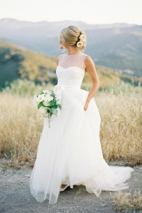 Wedding Dress,Wedding Dresses,Newest Charming Wedding Dresses,Floor-Length Wedding Dresses, Wedding Dress with Sashes,Wedding Dresses, Dresses For Wedding