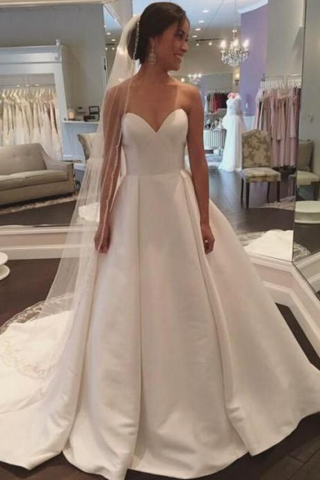 Wedding Dresses,2018 Wedding Gown,Satin Wedding Dresses,Simple Wedding Dresses,Sweetheart Wedding Dresses,Long Wedding Dresses,Bridal Dress,Wedding Dress,Brides Dress,Vintage Wedding Gowns,Wedding Dress