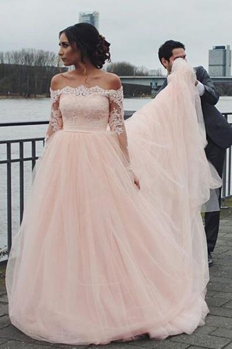 Pink Wedding Dresses, Ball Gown Wedding Dress,Long Sleeves Prom Dress,Tulle Prom Gown