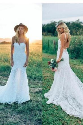 Spaghetti Straps Backless Lace Mermaid Country Wedding Dresses