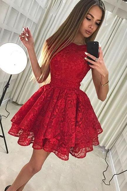 Cute lace short prom dress