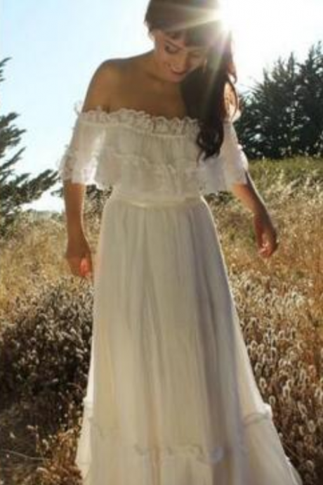 Vintage Country Style Bohemian Wedding Dress Off the Shoulder Lace Trim Chiffon Beach Garden Boho Bridal Gowns Full Length