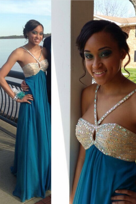 A Line Chiffon Long Prom Dress