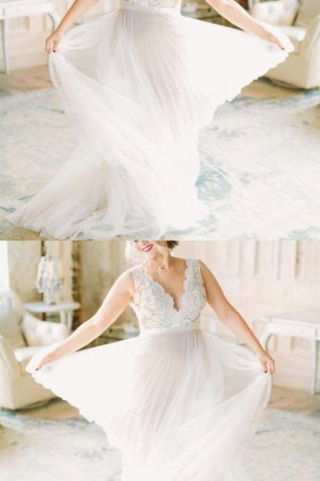 Boho Lace Appliques Tulle Long Wedding Dresses Beach
