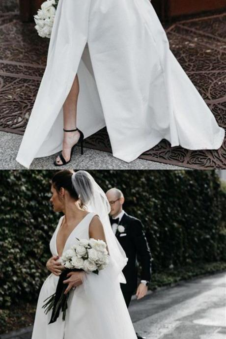 Sexy Leg Split Plunge V-neck Long Satin Wedding Dresses