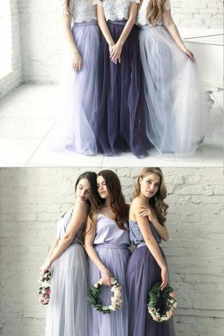 Two Piece Round Neck Long Light Blue Grey Silver Purple Lilac Tulle With Top Lace Bridesmaid Dresses