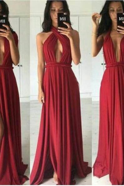 Convertible Sleeveless Chiffon Long Charming Prom Dress Evening Dresses Party Gowns