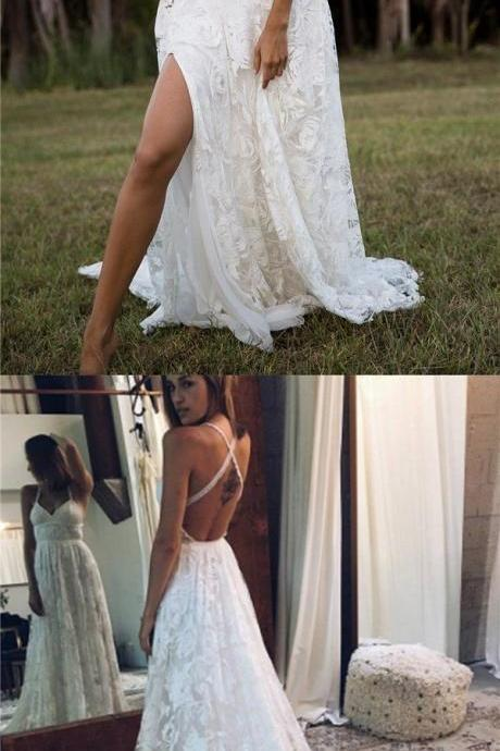 2018 Charming Lace Long A-line Fashion Spaghetti Straps Wedding Dress, New Unique Design Bridals Dresses