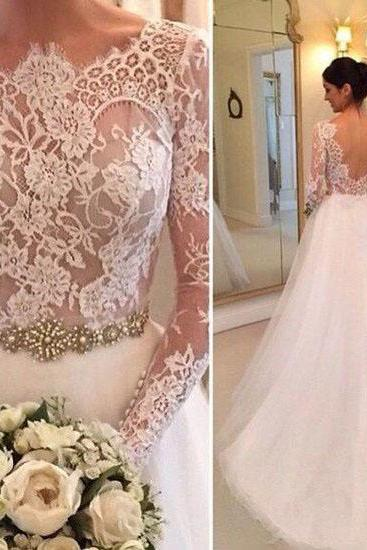 Lace Accents Crystals Beading Bridal Gowns Wedding Gowns,Tulle Wedding Dresses,Long Sleeveless Wedding Gown,Open Back Bridal Gown