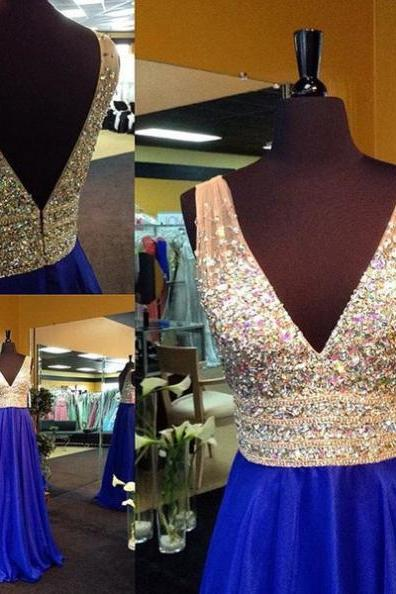 Deep V Neck Top Beading Prom Dress,Long Royal Blue Beading Evening Dress