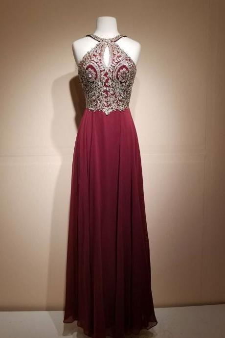 Burgundy Lace Applique Long Prom Dress,Halter Chiffon Prom Party Dress,Applique A-Line Evening Dress
