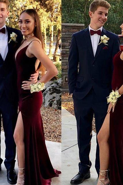Velvet Prom Dress With Open Back