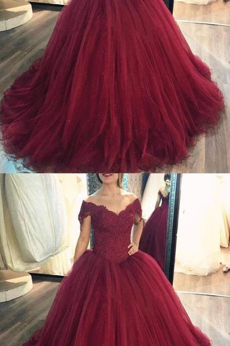 Off the Shoulder Prom Dress Ball Gowns Burgundy Quinceanera Dresses
