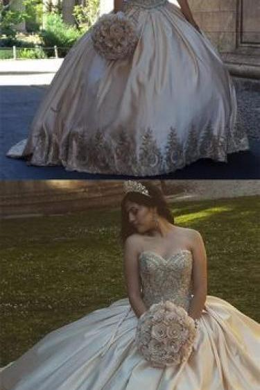 Gold Applique Quinceanera Dresses