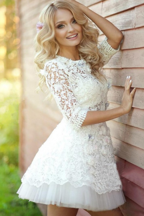 White Homecoming Dresses Half Sleeves A lines O-neck Appliques Above-Knee Tulle