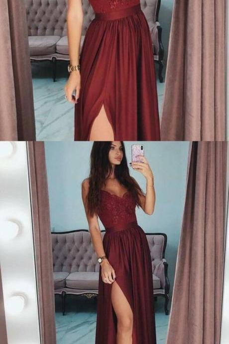 A-Line Spaghetti Straps Side Split Cheap Modest Long Burgundy Party Prom Dresses
