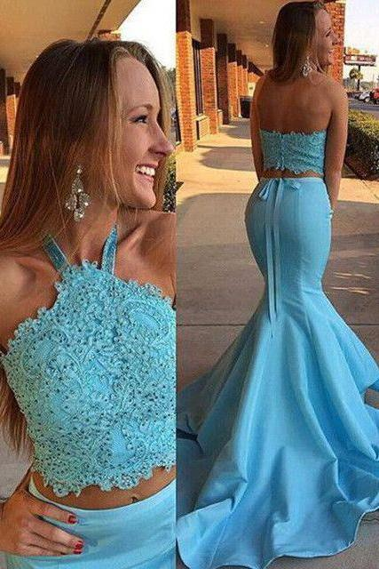 Long Sexy Blue Two Piece Prom Dresses,Lace Top Prom Gown,Mermaid Prom Dresses