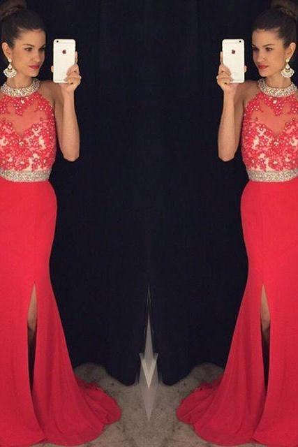Red Prom Dress,Chiffon Evening Gown,Long Formal Dress,Beaded Prom Gowns
