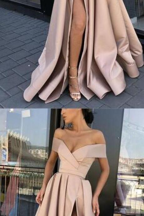 Long Satin Prom Dress,Sexy Split Prom Dress,Off-The-Shoulder Prom Dress,Cheap Evening Dresses