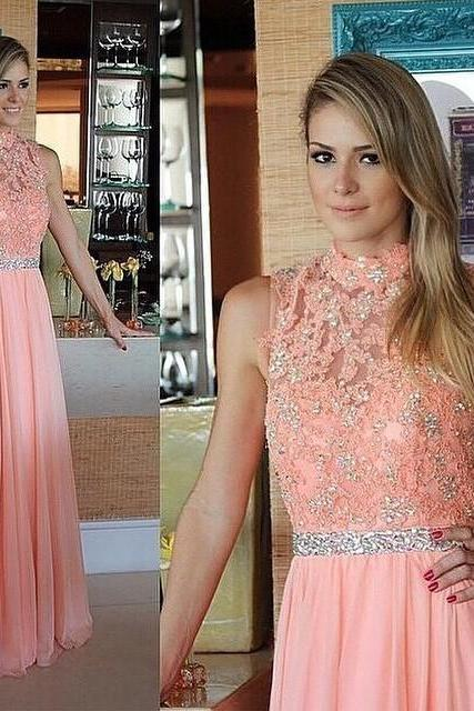 Real Beauty Blush Pink Long Beaded Lace Prom Dresses,Halter Chiffon A-line Evening Dresses