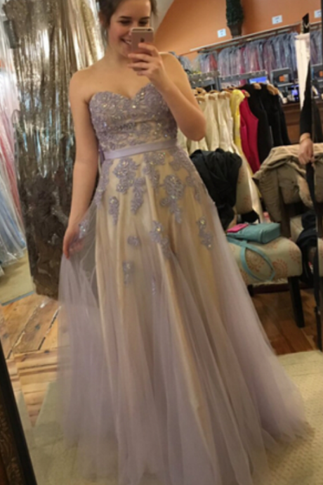 Appliques Prom Dress,Sweetheart Prom Dress,Tulle Evening Dress