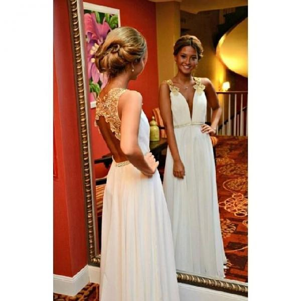 ew Arrival Gold Lace Ivory Wedding Dress,Backless Long Prom Dress,Open Back Deep V Neck Evening Prom Dresses,Cheap Wedding Party Dress