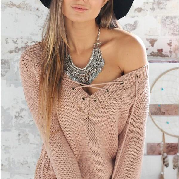 Knitted V-neck Sweater with Lace-Up Details - Khaki