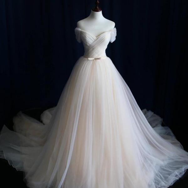 A-line Wedding Dress,Wedding Dresses,Wedding Dress,Wedding Gown,Bridal Gown,Bride Dresses, Off-shoulder Wedding Dress,Tulle Bridal Dress,Pleat Bridal Dresses,Customized Made Wedding Dress