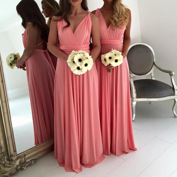 Bridesmaid Dresses,Bridesmaid Dress,V-neck Bridesmaid Dress,Chiffon Bridesmaid Dresses,Long Bridesmaid Dress,Coral Bridesmaid Dresses