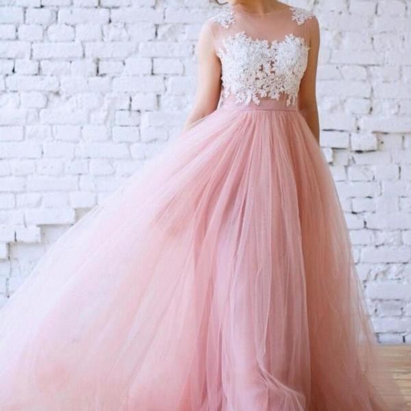 Princess Pink Tulle Lace Applique Prom Dress,Long Bridesmaid Dress,A Line Prom Party Dress
