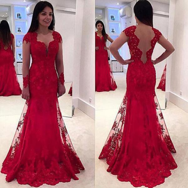 Women Dress,fashion Prom Dresses with Beautiful Lace, red Prom Dress Lace backless Prom Dresses