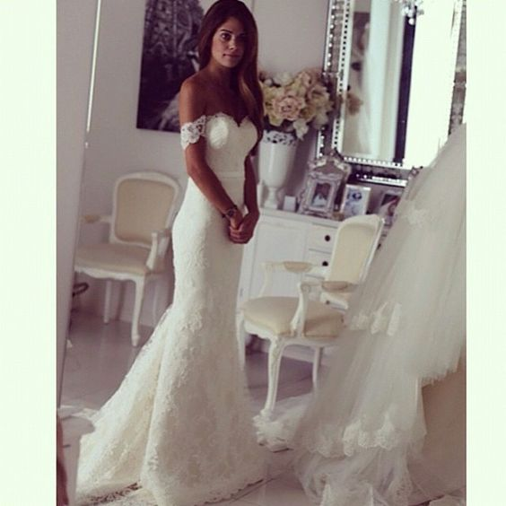 Lace Off-The-Shoulder Floor Length Mermaid Wedding Dress