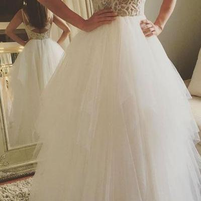 Lace Appliques Plunge V Shoulder Straps Floor Length Tulle Wedding Gown Featuring Low Back