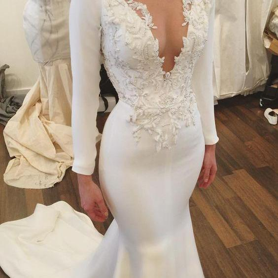 Wedding Dress,Wedding Dresses,Mermaid Wedding Dresses,Long Sleeves Wedding Dresses,Lace Wedding Dresses,V-Neck Wedding Dresses