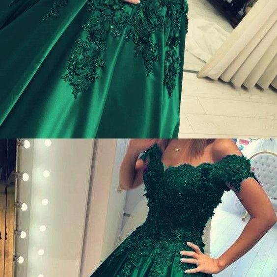 Off the Shoulder Green Prom Dress Ball Gowns Quinceanera Dresses