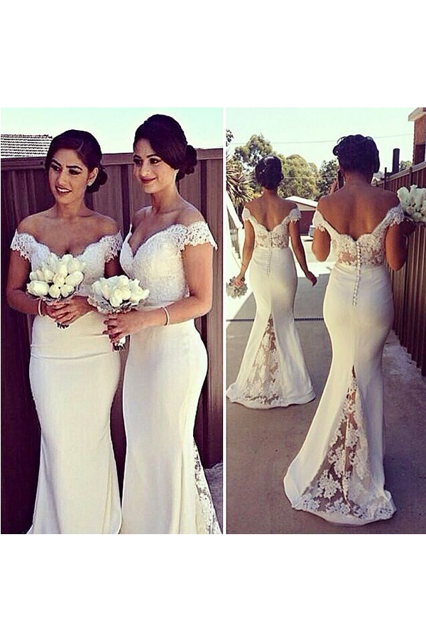 f6b206a9e0b7 Lace Bridesmaid Dress,Long Bridesmaid Gown,Off the Shoulder Bridesmaid Gowns,Mermaid  Bridesmaid Dresses,White Bridesmaid Gowns,2016 Bridesmaid Dress,Spring ...